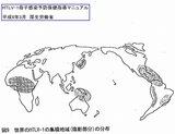 世界のHTLV-1の集積地域の分布